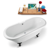 67 inch white vintage clawfoot tub isometric view