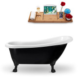 61 inch black oval vintage soaking  tub side view