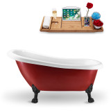 61 inch red oval vintage soaking tub side view