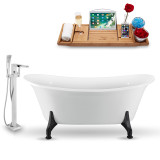 59 inch white clawfoot tub with freestanding faucet side view