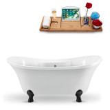 68 inch white vintage oval clawfeet tub side view