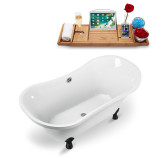60 inch white vintage soaking clawfoot tub isometric view