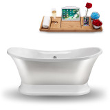 60 inch glossy white soaking freestanding tub side view
