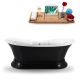 60 inch glossy black vintage freestanding tub side view