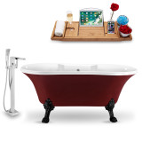 "60"" Glossy Red Vintage Soaking Clawfoot Tub side view"