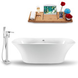 "59"" Glossy White Modern Freestanding tub side view"