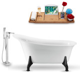 Streamline 59 inch vintage oval white clawfoot tub side view