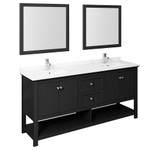 Fresca Manchester 72 Black Traditional Double Sink Bathroom Vanity w/ Mirrors