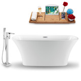 "Streamline 59"" Modern Oval Soaking Freestanding Tub in White side view"