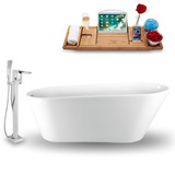 "Streamline 69"" Oval Modern Freestanding Tub with Internal Drain side view"