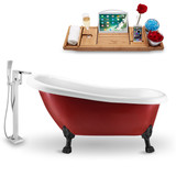 "Streamline 61"" Red Vintage Oval Clawfoot Soaking Tub side view"