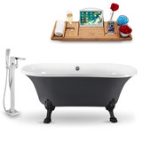 "Streamline 60"" Vintage Oval Clawfoot Tub in Grey side view"