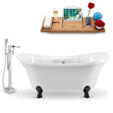 "Streamline 60"" Glossy White Vintage Soaking Clawfoot Tub side view"