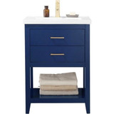 "Design Element Cara 24"" Blue Modern Single Sink Vanity"