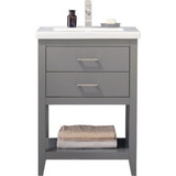 "Design Element Cara 24"" Gray Modern Single Sink Vanity"