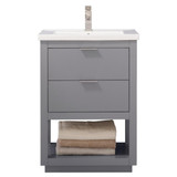 "Design Element Klein 24"" Gray Modern Single Sink Vanity"