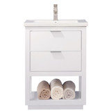 "Design Element Klein 24"" White Modern Single Sink Vanity"
