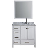 "Ariel Cambridge  37"" Modern White Right Offset Single Rectangle Sink Vanity Set"