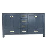 "Ariel Cambridge  60"" Transitional Midnight Blue Single Sink Base Cabinet"