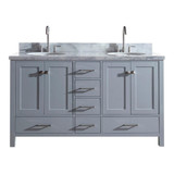 "Ariel Cambridge  61"" Modern Grey Double Oval Sink Vanity"