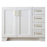 "Ariel Taylor 42"" Transitional White Left Offset Single Sink Base Cabinet"