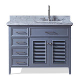 "Ariel Kensington 43"" Traditional Grey Right Offset Single Sink Vanity"