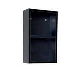 FST8092BW | Fresca Black Bathroom Linen Side Cabinet w/ 2 Open Storage Areas