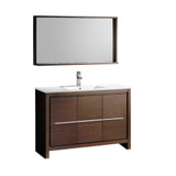 "Fresca Allier 48"" Wenge Brown Modern Bathroom Vanity w/ Mirror"