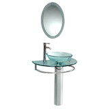 Fresca Attrazione Modern Glass Bathroom Vanity w/ Frosted Edge Mirror