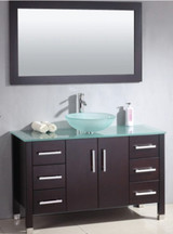"""Cambridge 48"""" Solid Wood Glass Vessel Sink Set with a Brushed Nickel Faucet"""