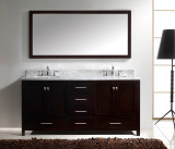 "Virtu USA Caroline Avenue 72"" Double Bathroom Vanity Cabinet Set in Espresso w/ Italian Carrara White Marble Counter-Top"