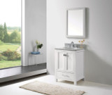 "Virtu USA Caroline Avenue 24"" Single Bathroom Vanity Cabinet Set in White w/ Italian Carrara White Marble Counter-Top, Round Basin"