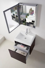 "Virtu USA Zuri 24"" Single Bathroom Vanity Cabinet Set in Wenge w/ Polymarble Counter-Top"