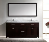 "Virtu USA Caroline 72"" Double Bathroom Vanity Cabinet Set in Espresso w/ Italian Carrara White Marble Counter-Top"