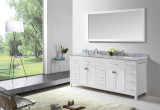 "Virtu USA Caroline Parkway 78"" Double Bathroom Vanity Cabinet Set in White w/ Italian Carrara White Marble Counter-Top, Round Basin"
