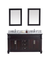 "Virtu USA Victoria 60"" Double Bathroom Vanity Cabinet Set in Espresso w/ Italian Carrara White Marble Counter-Top"