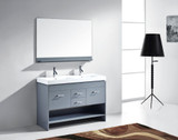 "Virtu USA Gloria 48"" Double Bathroom Vanity Cabinet Set in Grey w/ White Artificial Stone Counter-Top"