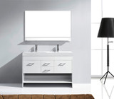 "Virtu USA Gloria 48"" Double Bathroom Vanity Cabinet Set in White w/ White Artificial Stone Counter-Top"