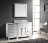 "Virtu USA Caroline Parkway 57"" Single Bathroom Vanity Cabinet Set in White w/ Italian Carrara White Marble Counter-Top"
