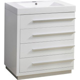 "Virtu USA Bailey 30"" Single Bathroom Vanity Cabinet in Gloss White w/ Polymarble Counter-Top"