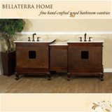 Bellaterra Home 202016A-D-WH | 82.7 in. Double Sink Vanity-Walnut-White Marble
