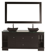 "Design Element DEC105-60 | Oasis 60"" Double Sink Vanity Set in Espresso with Mirror"