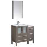 "Fresca Torino 36"" Gray Oak Modern Bathroom Vanity w/ Side Cabinet & Integrated Sinks"