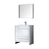 "Fresca Allier 30"" White Modern Bathroom Vanity w/ Mirror"