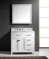 "Virtu USA Caroline Parkway 36"" Single Bathroom Vanity Cabinet Set in White"