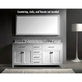 "Virtu USA Virtu USA Caroline Parkway 72"" Bathroom Vanity Cabinet in White"