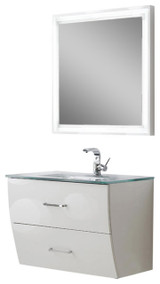"Fresca Platinum Wave 32"" Glossy White Modern Bathroom Vanity"
