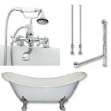 "Cambridge Plumbing Cast Iron Double Ended Slipper Tub 71"" X 30"" with 7"" Deck Mount Faucet Drillings and Complete Polished Chrome Plumbing Package"