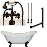 "Cambridge Plumbing Cast Iron Double Ended Slipper Tub 71"" X 30"" with 7"" Deck Mount Faucet Drillings and Complete Oil Rubbed Bronze Plumbing Package"