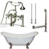 "Cambridge Plumbing Cast Iron Double Ended Slipper Tub 71"" X 30"" with 7"" Deck Mount Faucet Drillings and British Telephone Style Faucet Complete Brushed Nickel Plumbing Package With Six Inch Deck Mount Risers"